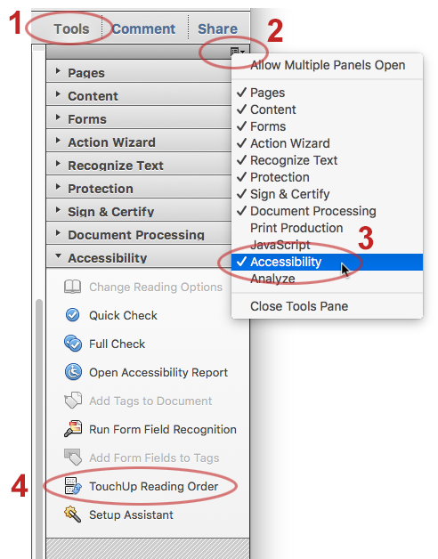 Adding the Accessibility panel to Tools.